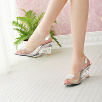 Wholesale Peep Toe Jelly Shoes - Wholesale-Free Shipping Fashion Sexy Summer Chaussure Shoes Glass Slippers Jelly Shoes transparent crystal Sandal Peep Toes wedges sandals