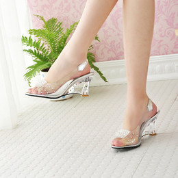 Wholesale Jelly Wedges Sandals - Wholesale-Free Shipping Fashion Sexy Summer Chaussure Shoes Glass Slippers Jelly Shoes transparent crystal Sandal Peep Toes wedges sandals