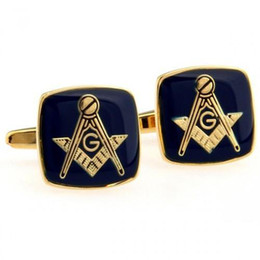 Chinese  Wholesale-men's jewelry Pattern wedding gift shirt cuff links for men unique groomsmen gifts Blue Masonic Cufflinks with Gold Setting manufacturers