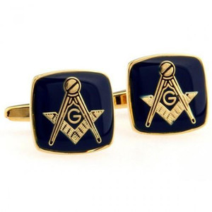 Wholesale-men's jewelry Pattern wedding gift shirt cuff links for men unique groomsmen gifts Blue Masonic Cufflinks with Gold Setting