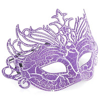 Wholesale Fox Fancy Dress - Wholesale-Sexy Lady Fox Crack Party Ball Masquerade Masks Fancy Dress Purple, 25cmx16cm