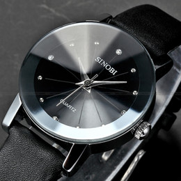 Wholesale Ladies Watches Small Dial - Wholesale-Mature SINOBI Silver Color Alloy Case Black Leather Band Black Small Round Dial Lady Quartz Wrist Women Dress Watch   SNB023