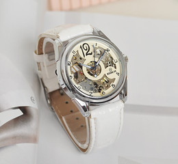 Wholesale Elegant Automatic Watch - Wholesale-2015 New Arrive Women Elegant White Leather Mechanical Watches Skeleton Watch Lady Automatic Wrist Watch