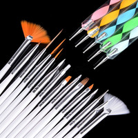 Wholesale Professional Art Paint Brushes - Wholesale-2015 Brand New High Quality 20pcs Professional acrylic Natural Nail Brush Set Designs Painting Pen Nail Art Perfect Tools A2093