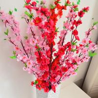 Wholesale Artificial Blossoms - Wholesale-Wholesale 12Pcs lot Artificial Branches Of Peach Cherry Blossom Silk Flowers Home Wedding Decoration Flower