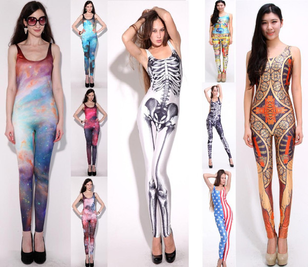 Wholesale-21 Types Ladies New Galaxy Sexy Body one pieces sports clothing Skeleton Pattern Jumpsuit Bodysuit Overalls pants for women