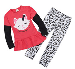 Wholesale Girls Jumping Beans - Wholesale-Jumping beans girls suits girls cat T-shirt + Leopard pants baby clothing suit