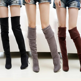Wholesale Plus Size Over Knee Boots - Wholesale-Plus-size womens high heel boots, US SIZE 9 -10.5,Over The Knee Boots For Women Scrub Upper Stretch Fabric Slim Boots#Z0055