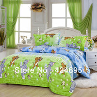 Wholesale Tom Jerry Duvet Cover Set - Wholesale-Tom and Jerry pattern bedding sets luxury,Include Duvet Cover Bed sheet Pillowcase,King queen full size,Free shipping