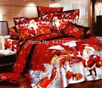 Wholesale Christmas Queen Size Comforter - Wholesale-Merry Christmas red comforter cover queen king size 4pcs Santa Claus duvet cover bed sheet bedclothes bedding set home textile