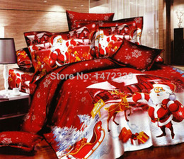 Wholesale Christmas Red Duvets - Wholesale-Merry Christmas red comforter cover queen king size 4pcs Santa Claus duvet cover bed sheet bedclothes bedding set home textile