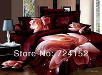 edredones negros blancos rojos al por mayor-Al por mayor-NUEVAS rosas rojas 300Thread cuentan blanco negro rosa algodón ropa de cama niñas cama sábanas Queen / King edredón edredón edredón