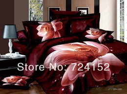 Комплекты постельных принадлежностей из красных роз онлайн-Wholesale-NEW Red roses 300Thread count White Black Pink cotton Bedding set girl's bed sheets Queen/King size quilt Comforter Duvet