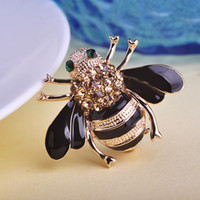 Wholesale Rhinestone Bee Brooch - Wholesale-Stylish High Quality Bee Brooches Esmalte Enamel Broches Gold Ouro Hijab Pins Esmalte de Unhas Rhinestone Brooches In Lots Game