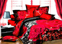 Wholesale Red Silk Comforter Sets - Wholesale-ANN a nice night roupa de cama 3d bedding set red rose flower bed sheets sale price exquisite gift giving