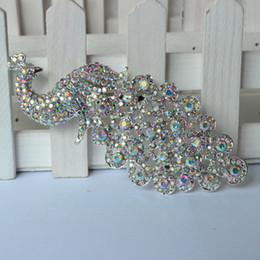 Canada Gros-Lager Argent Cristal AB Strass Broche Grand Paon Broches Pour Les Femmes Bouquets De Mariage Clip Écharpe Boucle Hijab Pins 09014 cheap wholesale clips for scarves Offre