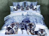 Wholesale Mens Bedding - Wholesale-3d bedding sets queen high-quality 100 cotton 4pcs Wolf bedding sets Bedclothes wolf sheet set mens bedding panda duvet cover