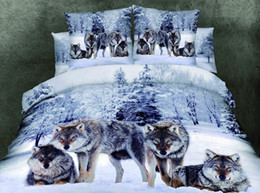 adult panda bedding Coupons - Wholesale-3d bedding sets queen high-quality 100 cotton 4pcs Wolf bedding sets Bedclothes wolf sheet set mens bedding panda duvet cover