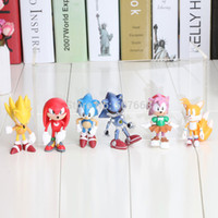 Wholesale Sega Sonic Hedgehog - Wholesale-Free shiping 1set 6pcs set 3int 7cm SEGA sonic the hedgehog Figures toy pvc toy sonic Characters figure toy