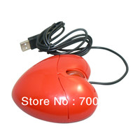 Wholesale Souris Mini - Wholesale-5pcs lot USB2.0 Mini 3D Optical Ratinho Cute Red Heart Mouse Maus Rato for PC Wired Cord Mice Souris for Laptop Red Color