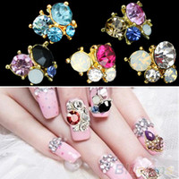 Wholesale Crystal Sticker Nails - Wholesale-50Pcs 3D DIY Shiny nail stickers on nails Metallic Rhinestones Crystal Nail Art Tips Studs Phone Decor