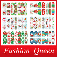 Wholesale 2d Christmas Decorations - Wholesale-Newest Christmas Nail Stickers,6sheets lot Green Tree Glitter Full Cover Adhesive Nail Tips Patch,DIY Nail Art Decoration Tools