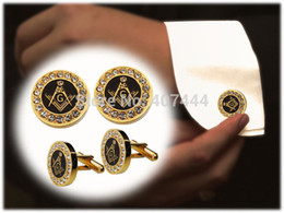 Wholesale Usa Ties - Wholesale-2PCS Free Shipping USA UK Canada Russia Brazil Hot Sales Golden Two-Tone Stainless Steel Masonic Men's CuffLinks Cubic