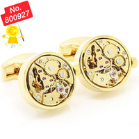 Atacado-2015 Time-limited Real Tie Clip Mens Gift Presente para homens Functional Mechanical - Watch Cufflinks, Gold Round Movement 800927