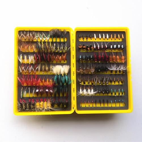 Free Shipping 168pcs dry and wet fly lures with fly plastic box Trout lures fly fishing bait fake lure fishing tackle soft lure