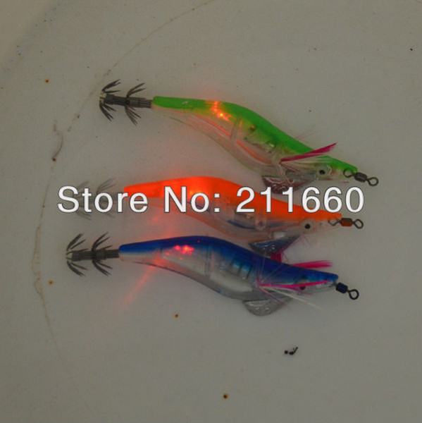 Wholesale-Wholesale - fishing lures LED squid jig fishing tackle flash fishing bait 3.0#/12.5cm with retail package 4pcs Free Shipping