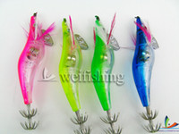 Wholesale Saltwater Led Lights - Wholesale-HOT!!! 2.5# 20pcs lot Squid hook Fishing Lures fishing hook . LED Light fishing squid jigs