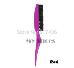 Wholesale-10pcs/lot New Arrive Professional Plastic Teasing / Back Hair Combing Slim Line Styling Hair Brushes 3Colors 10189 3F