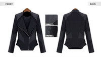 Wholesale Womens Biker Short Leather Jacket - Wholesale-2015 New Womens Hollywood Luxury Faux Leather Spliced Biker Rider Stylish Zipper Jacket Coat Free Shipping