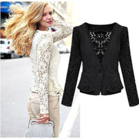Wholesale Black Crop Jacket - Wholesale-New Spring Summer 2015 Fashion Black Beige Long Sleeve Hollow Lace Crop Jacket Outerwear For Women Size S- XL 99394