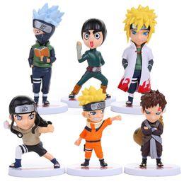 Wholesale Neji Figure - Wholesale-6pcs set Anime Naruto Action Figures Naruto Kakashi Gaara Rock Lee Minato Neji PVC Figure Toys NTFG014