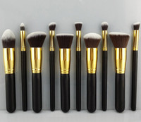 Synthetic Hair Wood makeup tools Wholesale-2015 Wholesale High Quality Makeup brushes 10PCS LOT Cosmetics Foundation Blending Blush Wooden Makeup Brush tool Kit Set Case