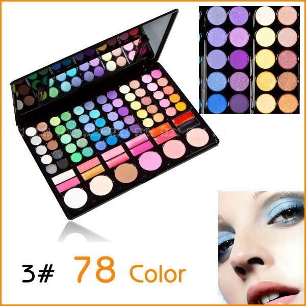 Wholesale-Fashion Cosmetics Multi-Function 78 Colors #3 Eyeshadow Llip Gloss Blush Makeup Pallet Kit Eye Shadow Sets