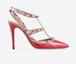 Wholesale C Colors - Women Sandals.Ladies Brand V Fashion High Heels Rivets Patent Matte Leather Sexy Pumps (39 Colors)size EU33-42