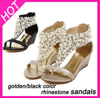 Wholesale Gold Diamond Sandals - Wholesale-2015 summer leather rhinestone women's wedge sandals and flip flops,Star diamond Pearl dress pumps shoes,size8.5