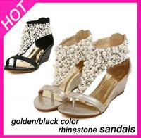 Wholesale Diamond Gold Heels - Wholesale-2015 summer leather rhinestone women's wedge sandals and flip flops,Star diamond Pearl dress pumps shoes,size8.5