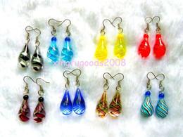 Wholesale Drop Murano Earrings - lots 96Ppcs Solid drop Handmade Murano glass Silver plated Earrings jewelry