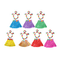 Wholesale Green Photographs - Wholesale-Popular Tassel Child Girl Princess Flower Hula Grass Skirt Fancy Costume Show Skirt Photograph 1 Set