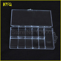 Wholesale Nail Art Plastic - Wholesale-Nail tool Plastic storage box Earring jewelry Compartments Nail Art Tips Case Container Can Accommodate 100pcs False Nail