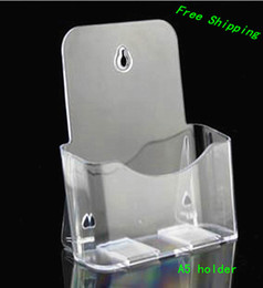Wholesale Wholesale Literature Holders - Wholesale-Free Shipping 10pcs Clear A5 Single Plastic Brochure Pamphlet Literature Display Holder Racks Stand to Insert Leaflet On Desktop