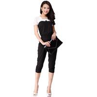 Wholesale European Ladies Jumpsuits - Wholesale-European Style Black And White Women Casual Jumpsuit Patchwork Rompers Slim Elegant Ladies Jumpsuits