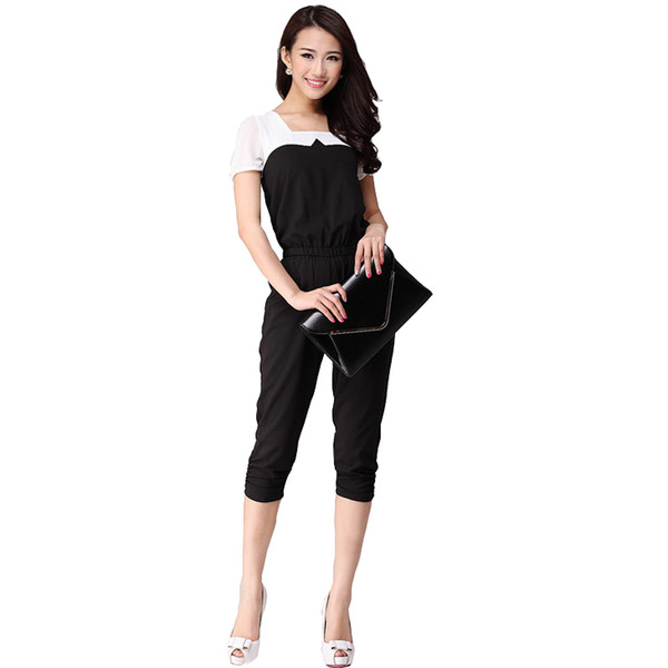 8e496491cc6 Wholesale-European Style Black And White Women Casual Jumpsuit Patchwork  Rompers Slim Elegant Ladies Jumpsuits