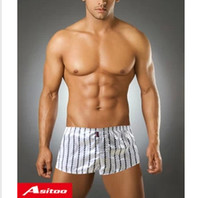 Wholesale Pajama Boxers - Wholesale-latest ASITOO men's boxer underwears Black and white stripe fashionable household shors pajama boxers underpants Free shipping