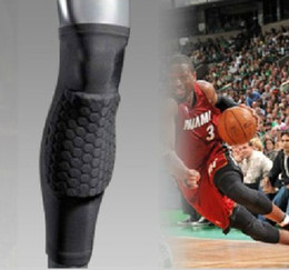 Wholesale Protection Elbow - Wholesale-P29 Men's Hex Pad Extended Long Leg Calf Shin Knee Pads Protection Basketball Sports Care Gym Support Black Blue White Red New