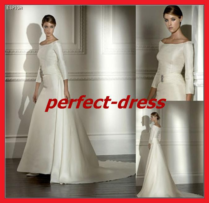 Simple And Elegant Wedding Dresses Boat Neck Three Quarter: Discount Modest Elegant A Line Boat Neck White/Ivory