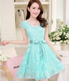 Wholesale Noble Cozy Summer Dress - Wholesale-2015 new hot summer Fashion Cozy women clothes Noble elegant short sleeve lace chiffon dress Korean casual sweet solid